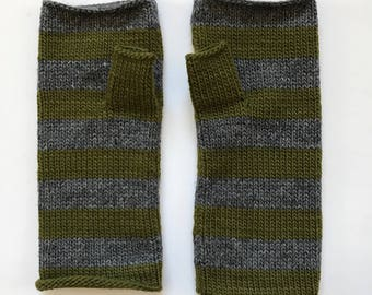 Fingerless mittens stripe USA made wool charcoal grey and olive green