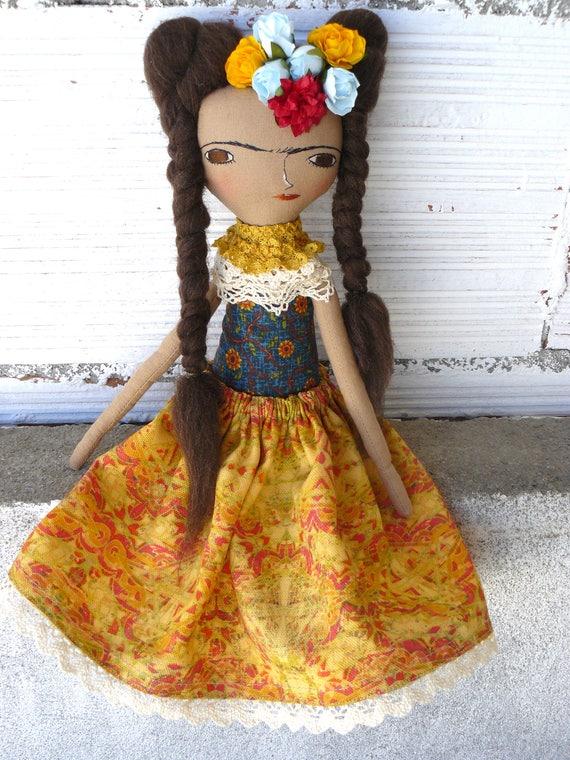 Frida Kahlo rag doll. 13 inches. Frida nº 25 2017 series.