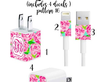 Iphone Charger Wrap, Monogram Iphone charger decal in Pattern 16 with Quatrefoil Monogram