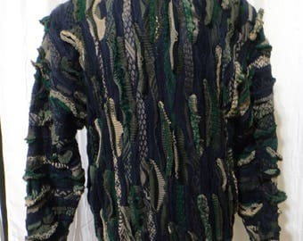 Authentic Coogi Sweater, (Size Men's Large), Navy Blue, Emerald Green, Beige, Olive Green, Taupe, Cosby, Huxtable Sweater, Large Textures
