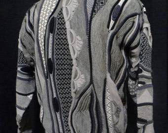 """Vintage 80s, 90s, Tosani Sweater, """"Coogi-like Styling"""" (Men's: Large), Great Colors/Textures, Hip Hop, Cosby Sweater, Made in Canada"""