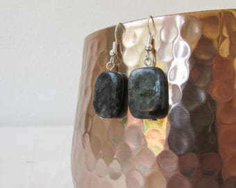 Labradorite earrings, grey semi precious gemstone dangle earrings, sterling silver earrings, lightweight earrings, handmade in the UK