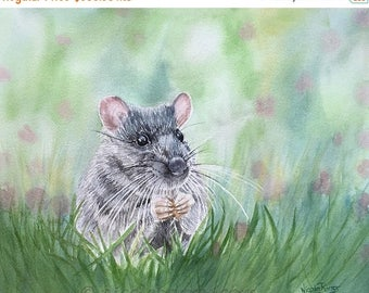 "20% off Field Mouse painting, Original watercolour painting 15.5""x12"" Mouse painting, Art Home decor, Fine Art, Wildlife Painting, Feathers"