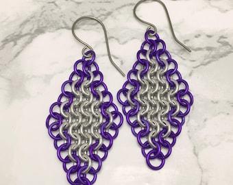 Pretty Purple Earrings - Purple Jewelry for Women - Long Purple Earrings - Purple Chainmaille Earrings - Chainmaille Jewelry - Gift for Mom