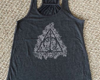 Deathly Hallows, Harry Potter, Doodle, women's racer back tank top, Geek Gift for her