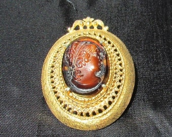 Vintage Florenza faux tortoise shell glass cameo brooch pin Victorian Revival