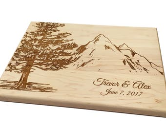 Personalized Cutting Board Custom Wedding Gift Pine Tree with Mountains Mountain Climbing Hikers Cheese Board Chopping