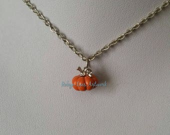 Very Small 3D Orange Pumpkin Charm Necklace on Silver Crossed Chain or Black Faux Suede Cord. Halloween, Cute, Costume, Detailed, Fruit