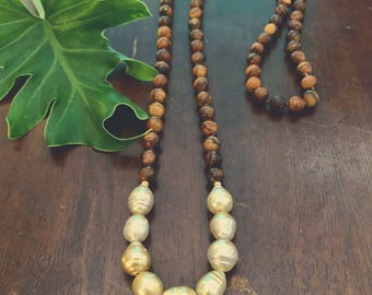 Hand knotted golden south sea pearl Mala necklace