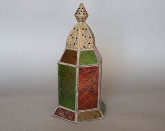 Vintage Stained Glass Hanging Lantern