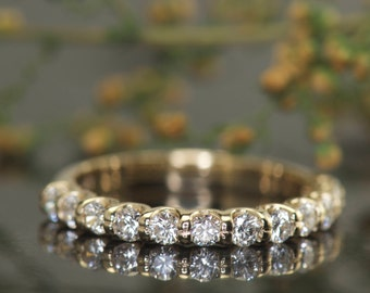 Diamond Wedding Band in 14k Yellow Gold, Shared Prong in U-Shaped Basket Setting, 0.56ctw, 2.4mm Wide, 1/2 Eternity, Stackable, Avery B