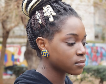Boucles d'oreilles ethniques en tissu wax, bijoux wax, bijoux africains, textile stud earrings, ankara fabric earrings, gift for her