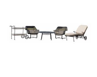 Mid Century Modern Woodard Sculptura Black Wrought Iron Patio Set Chaise Cart