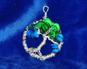 Aqua Shell Stones in the Tree of Life Pendant