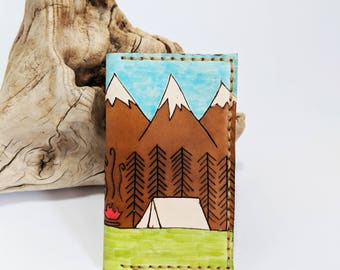 Mens leather wallet / Minimalist leather wallet / Mountain wallet / Camping wallet / gift for him