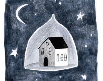 ORIGINAL Painting Starry Home