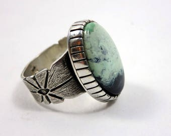 Prince Variscite  and Sterling Silver Ring, Size 7.5, southwestern jewelry, boho ring, gypsy ring, hand stamped, modern jewelry