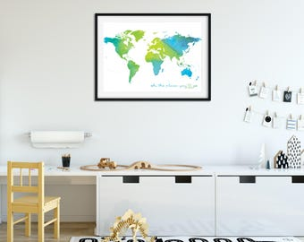Oh the Places You'll Go Watercolour Print (BLUE & GREEN)
