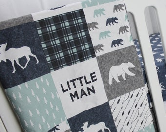 Woodland Crib Bedding - Little Man Blanket- Dusty Blue, Navy and Grey - Moose and Bear Baby Blanket