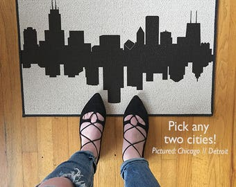 Door Mat City Skylines Doormat Area Rug // Pick Two Cities // Dueling Skylines Going Away Gift Housewarming Gift City Home Decor