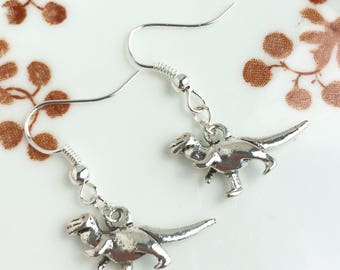 T-Rex Dinosaur Earrings Antique Silver Tone Charm Jewellery Gift Dino T-rex Tyrannosaurus Prehistoric
