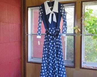 "Vintage 1970s NOS maxi dress blue white polka dots size 14 bust 36"" unused unworn original tags Hutner's Ft. Wayne IN (62417)"