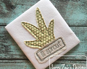 Lil sprout plant shabby chic appliqué embroidery design - plant appliqué design - farmer appliqué design - shabby chic appliqué design