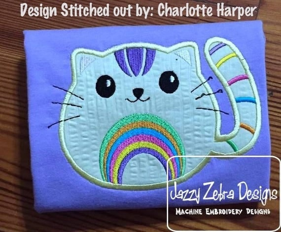 Rainbow cat appliqué embroidery design - cat appliqué design - kitten appliqué design - girl appliqué design - rainbow appliqué design