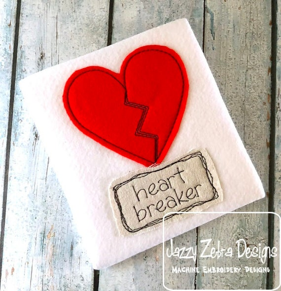 Heart Breaker shabby chic applique embroidery design - Valentine appliqué design - heart appliqué design - girl appliqué design - boy