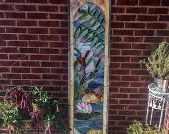 Stained Glass Pond Scene Vintage Wall Decor