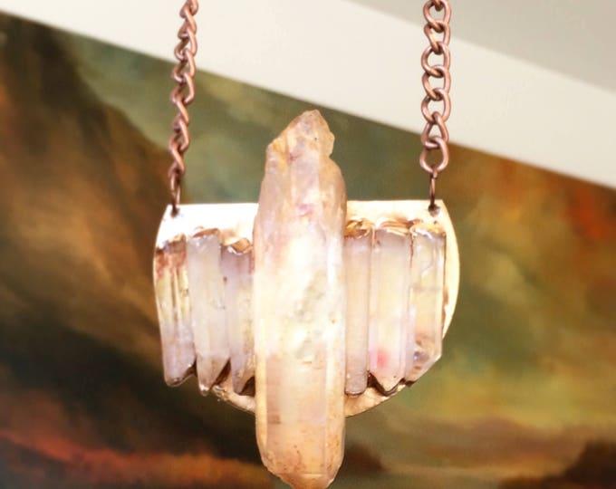 Raw Quartz Crystal Mediallion Necklace
