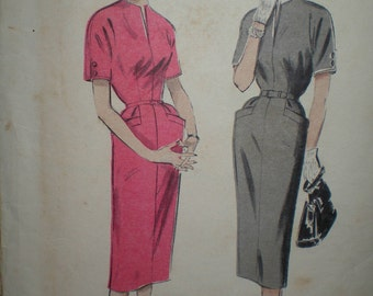 1953 Butterick Sewing Pattern Sew a Slim one piece dress Size 14 Bust 32 Hip 35 Slender Skirt