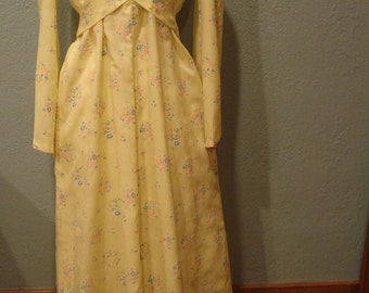 1970's Mod Long Bridesmaid/Prom Dress Size 12 Yellow Floral Flocked Fabric Flowy Body