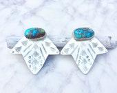 turquoise ear jacket, ear jacket turquoise, silver ear jacket, turquoise studs, unique ear jacket, turquoise earrings, turquoise ear climber