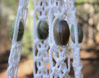 White Macrame Plant Hanger with Tie Dye Wooden Beads