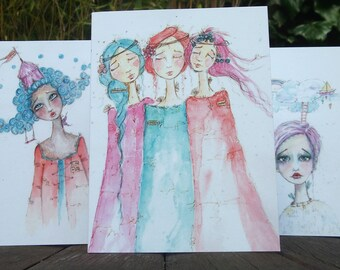 Set of Three Whimsical Greetings Cards