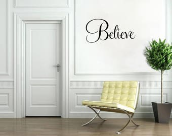 Believe with Cross Vinyl Word Art Religious Wall Decal