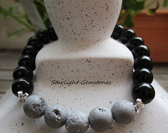 Grounding and Energy Protection Gemstone Bracelet with Black Onyx & Silver Druzy Gemstone Beads plus Sterling Silver Spacers.