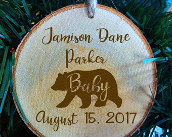 Baby bear ornament etsy personalized baby bear christmas wood slice ornament birth information birth negle Gallery