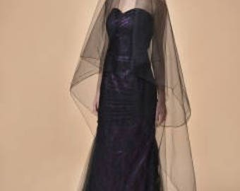 Black Veil, Black Wedding Veil, Gothic Veil, Drop Veil, Modern Veil, Simple Veil, Bridal Veil, Dramatic Veil,  Color Veil- MIDNIGHT MAGIC
