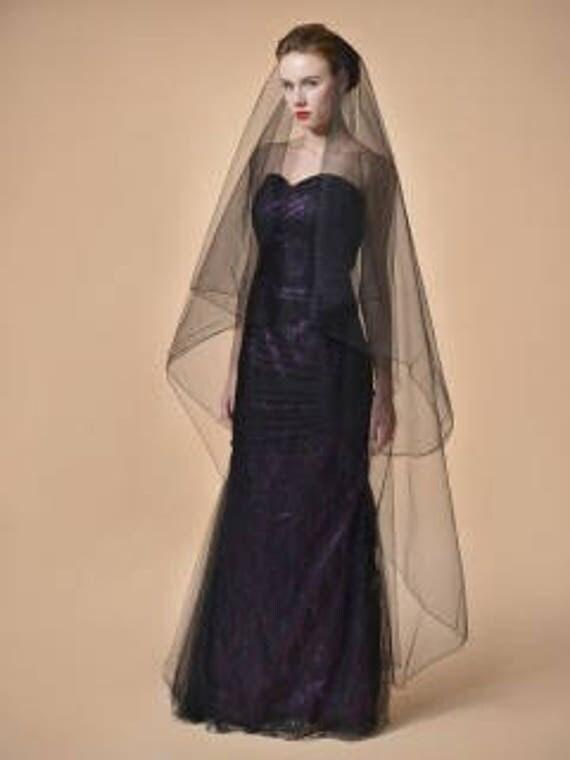 Black Veil, Black Wedding Veil, Gothic Veil, Drop Veil, Modern Veil, Simple Veil, Bridal Veil, Dramatic Veil,  Color Veil- MIDNIGHT MAGIC