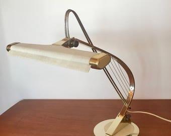 Mid Century Modern Brass Piano Lamp Retro Desk Lamp
