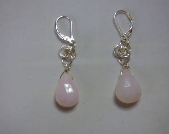 Sterling Silver Earrings.  Chainmaille.   Pink Opal