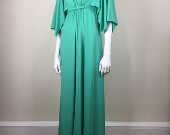 mint green grecian formal maxi dress 70s