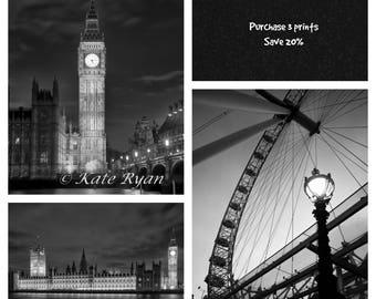London Print Set, Black and White, Urban Industrial Wall Art, Modern Gallery Wall Art, Fine Art Photo, Parliament, Big Ben, London Eye