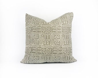 READY TO SHIP Hand Block Printed Brown Tribal African Linen Pillow Cover 20x20