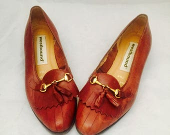 80s Leather Flats Kiltie Fringe Loafers Size 7 36 37 Made in Brazil by Westbound