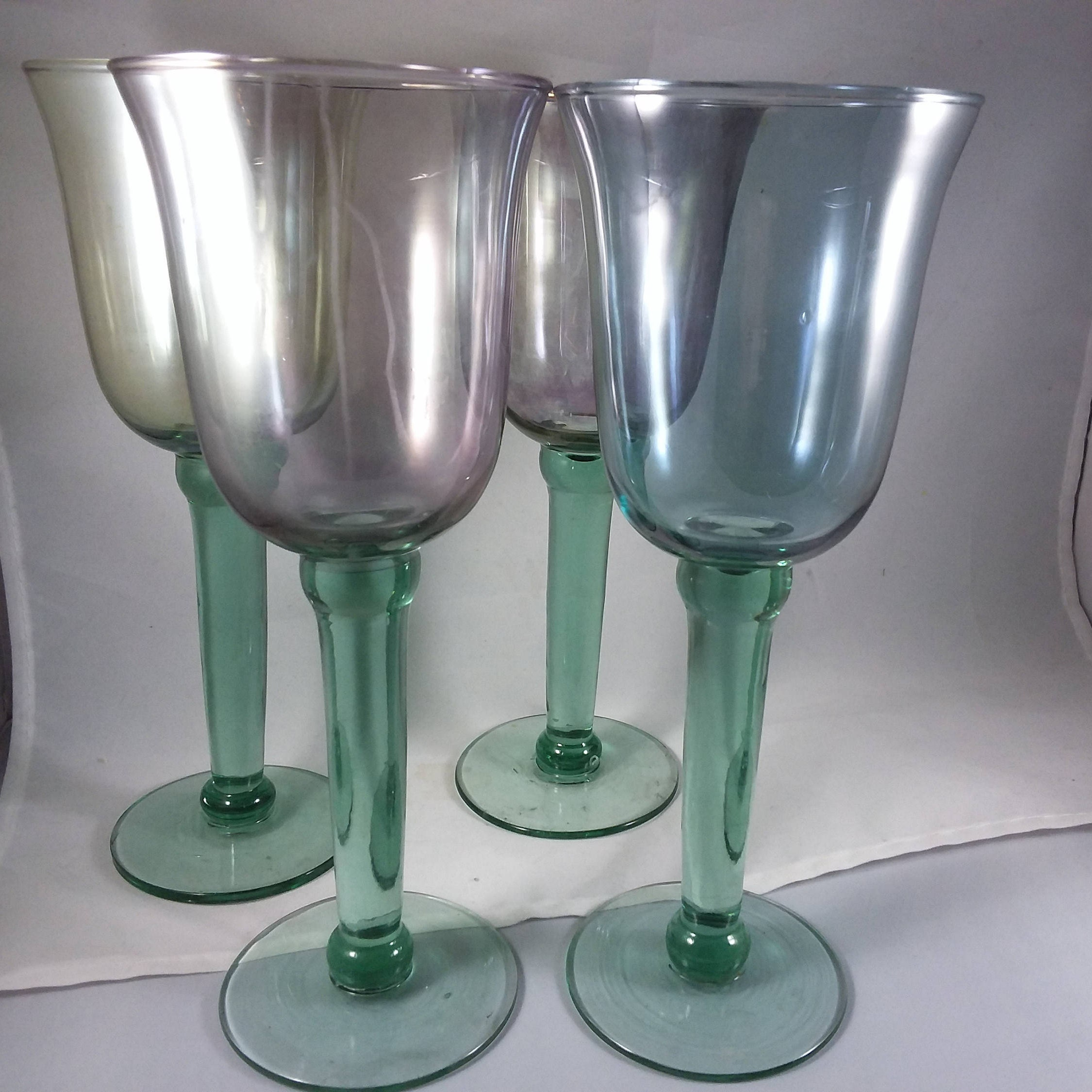Goblets wine glasses irridescent long thick stemmed stunning - Wine glasses with thick stems ...