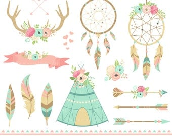 Dreamcatcher Tribal Clipart. Floral Teepee. Floral Arrows. Dreamcatcher. Feathers. Border. Arrows. Tribal fabric. Floral Antler. Antlers.