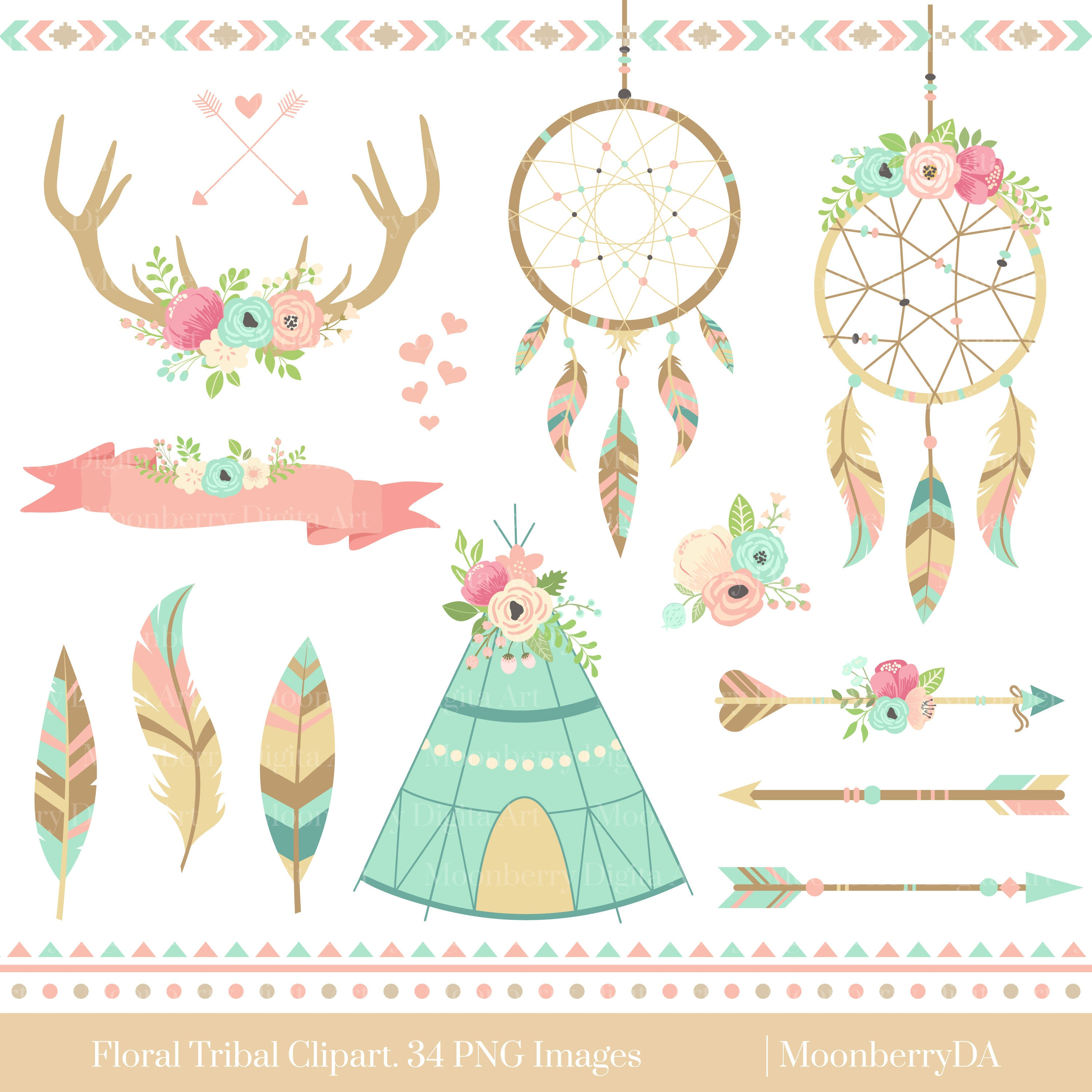 Dreamcatcher Tribal Clipart. Floral Teepee. Floral Arrows.